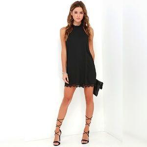 Black Lace Halter Shift Graduation Dress